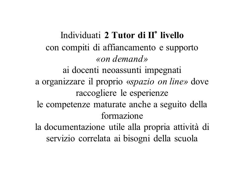 Individuati 2 Tutor di II° livello con compiti di affiancamento e supporto «on demand» ai docenti neoassunti impegnati a organizzare il proprio «spazi