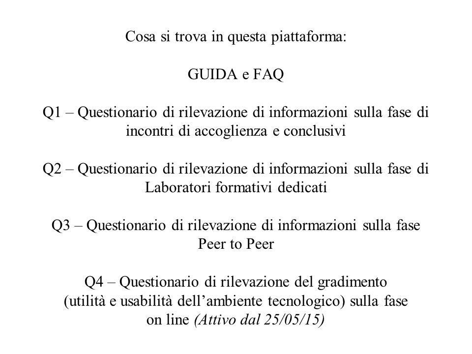 Cosa si trova in questa piattaforma: GUIDA e FAQ Q1 – Questionario di rilevazione di informazioni sulla fase di incontri di accoglienza e conclusivi Q
