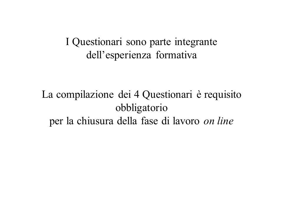 I Questionari sono parte integrante dell'esperienza formativa La compilazione dei 4 Questionari è requisito obbligatorio per la chiusura della fase di