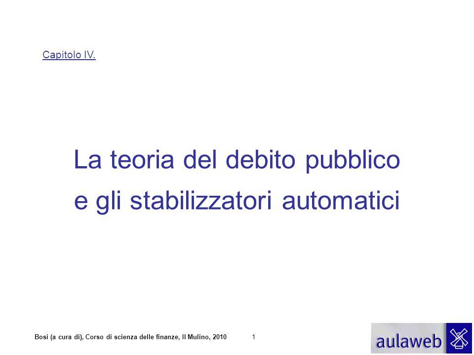 Bosi (a cura di), Corso di scienza delle finanze, Il Mulino, 20101 Capitolo IV. La teoria del debito pubblico e gli stabilizzatori automatici
