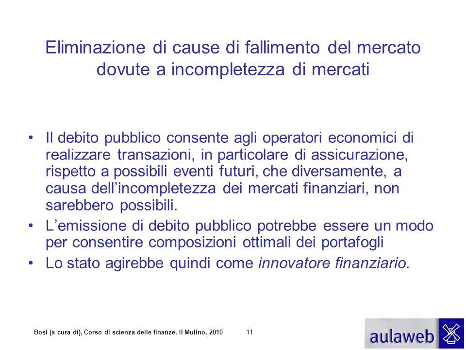 Bosi (a cura di), Corso di scienza delle finanze, Il Mulino, 201011 Eliminazione di cause di fallimento del mercato dovute a incompletezza di mercati