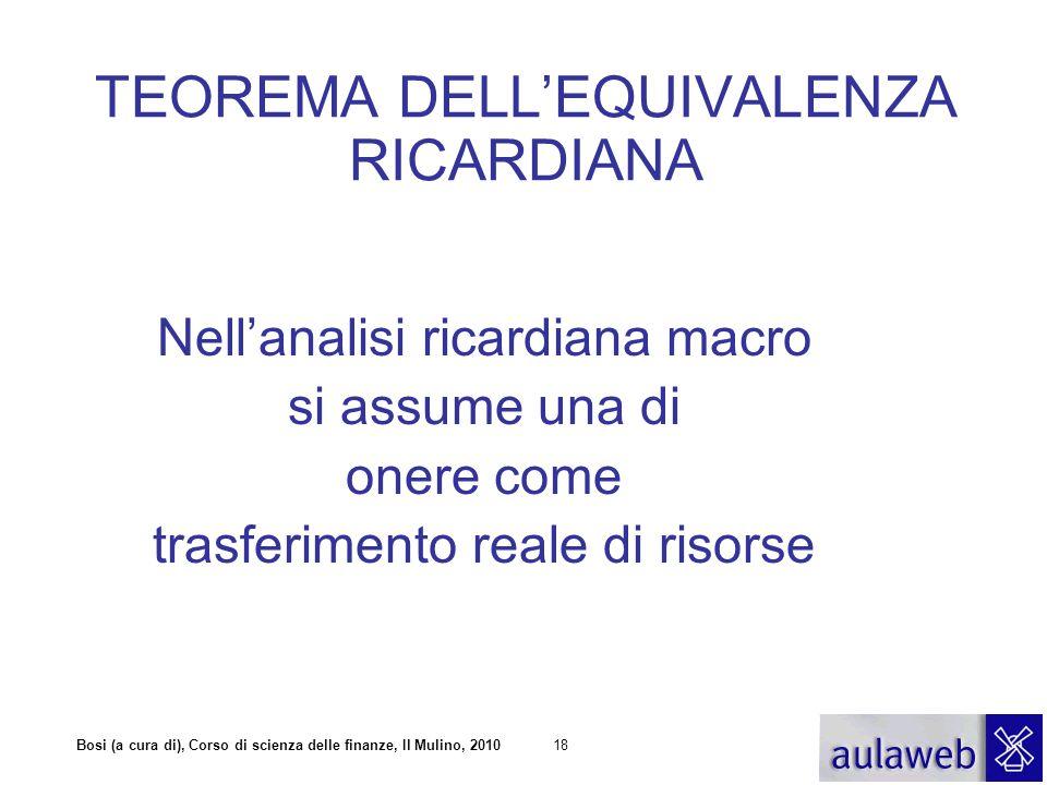 Bosi (a cura di), Corso di scienza delle finanze, Il Mulino, 201018 TEOREMA DELL'EQUIVALENZA RICARDIANA Nell'analisi ricardiana macro si assume una di