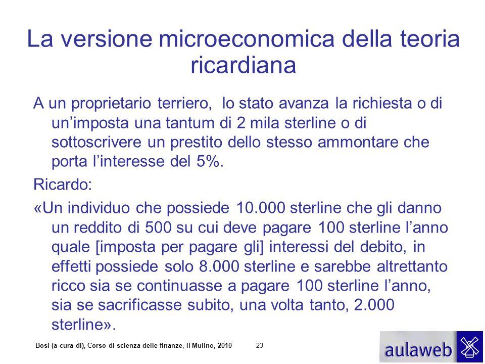 Bosi (a cura di), Corso di scienza delle finanze, Il Mulino, 201023 La versione microeconomica della teoria ricardiana A un proprietario terriero, lo
