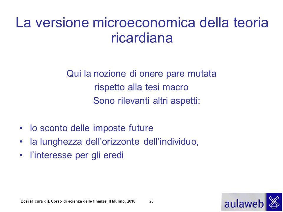 Bosi (a cura di), Corso di scienza delle finanze, Il Mulino, 201026 La versione microeconomica della teoria ricardiana Qui la nozione di onere pare mu