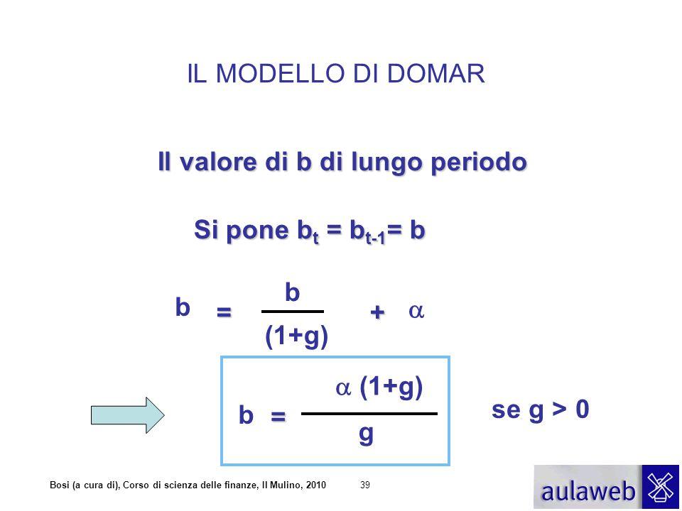 Bosi (a cura di), Corso di scienza delle finanze, Il Mulino, 201039 IL MODELLO DI DOMAR =+  b b (1+g) Il valore di b di lungo periodo Si pone b t = b