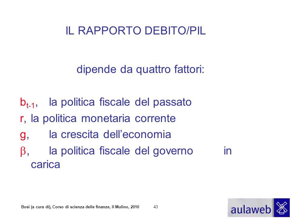 Bosi (a cura di), Corso di scienza delle finanze, Il Mulino, 201043 IL RAPPORTO DEBITO/PIL dipende da quattro fattori: b t-1, la politica fiscale del