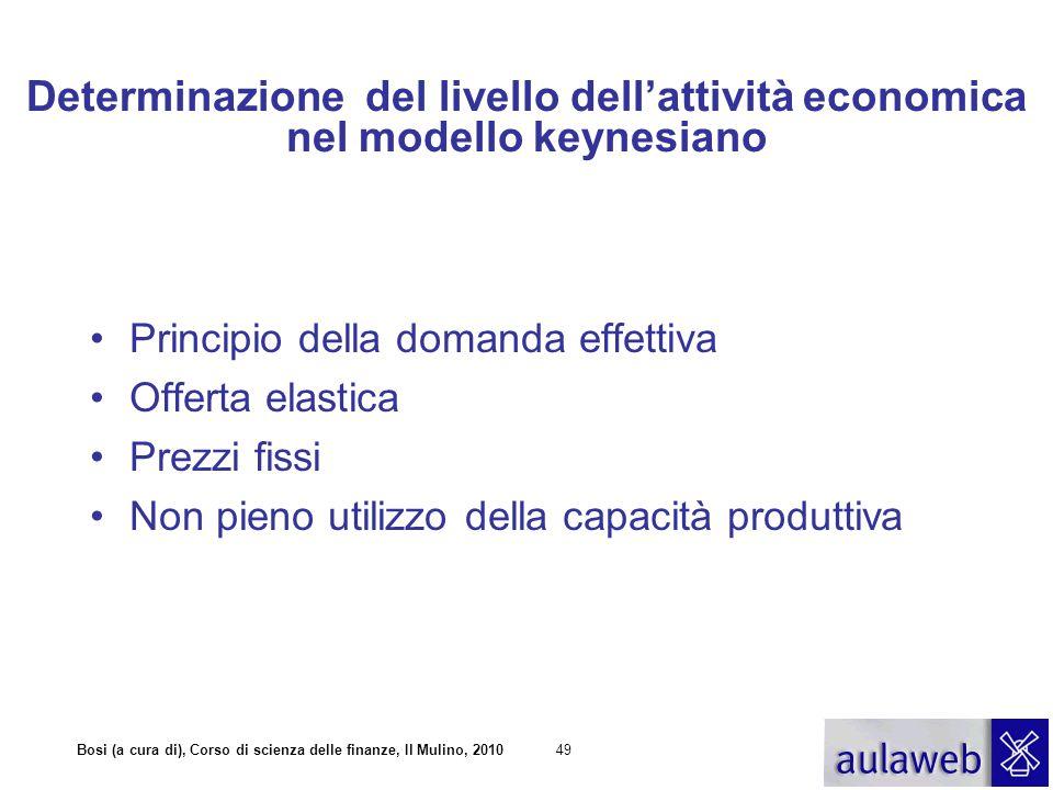 Bosi (a cura di), Corso di scienza delle finanze, Il Mulino, 201049 Determinazione del livello dell'attività economica nel modello keynesiano Principi