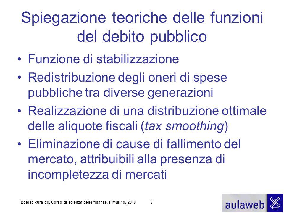 7 Spiegazione teoriche delle funzioni del debito pubblico Funzione di stabilizzazione Redistribuzione degli oneri di spese pubbliche tra diverse gener