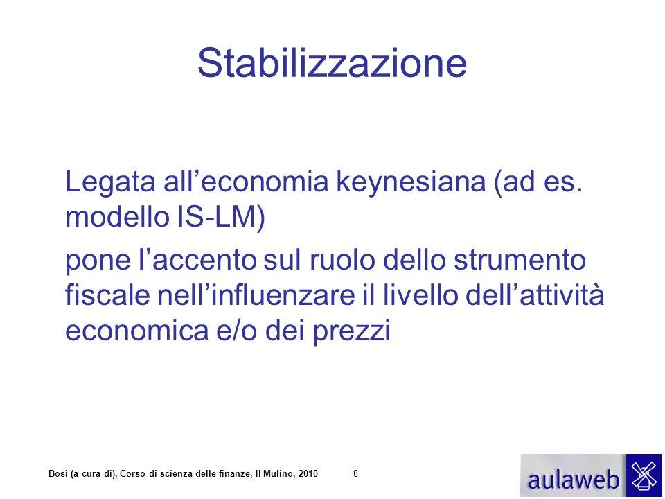 Bosi (a cura di), Corso di scienza delle finanze, Il Mulino, 20108 Stabilizzazione Legata all'economia keynesiana (ad es. modello IS-LM) pone l'accent