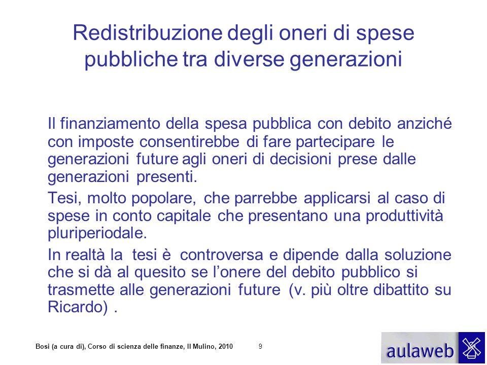 Bosi (a cura di), Corso di scienza delle finanze, Il Mulino, 20109 Redistribuzione degli oneri di spese pubbliche tra diverse generazioni Il finanziam