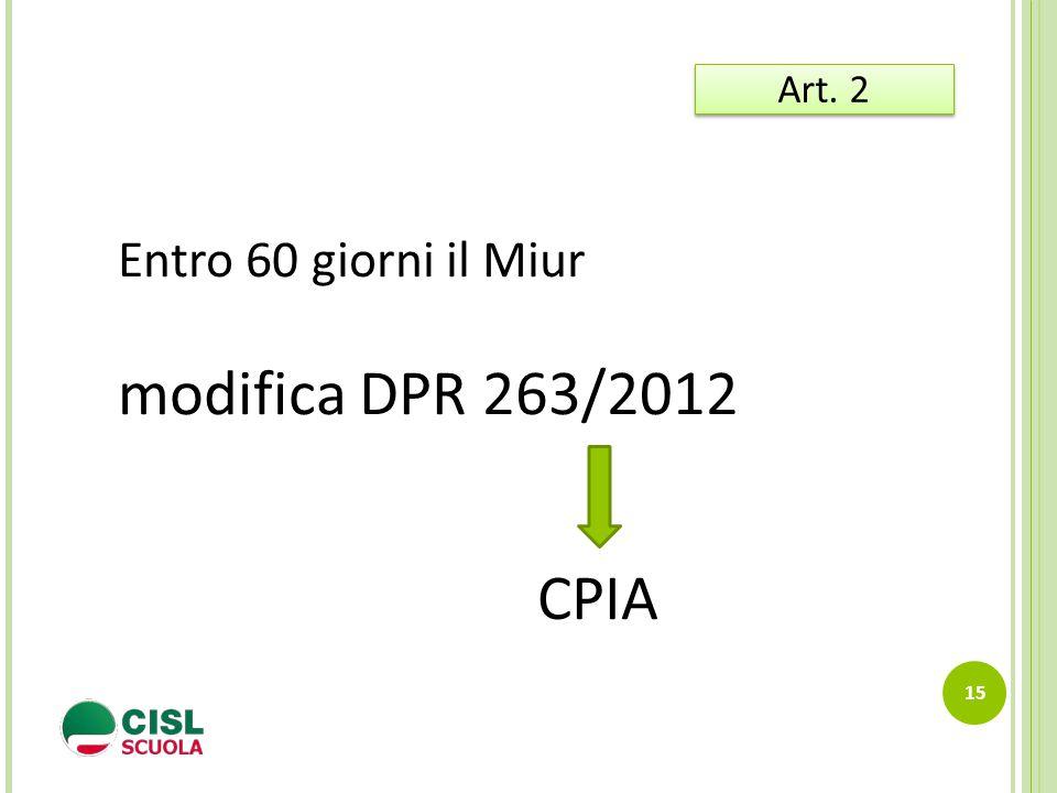 15 Art. 2 Entro 60 giorni il Miur modifica DPR 263/2012 CPIA