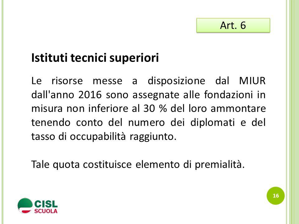 16 Art. 6 Istituti tecnici superiori Le risorse messe a disposizione dal MIUR dall'anno 2016 sono assegnate alle fondazioni in misura non inferiore al