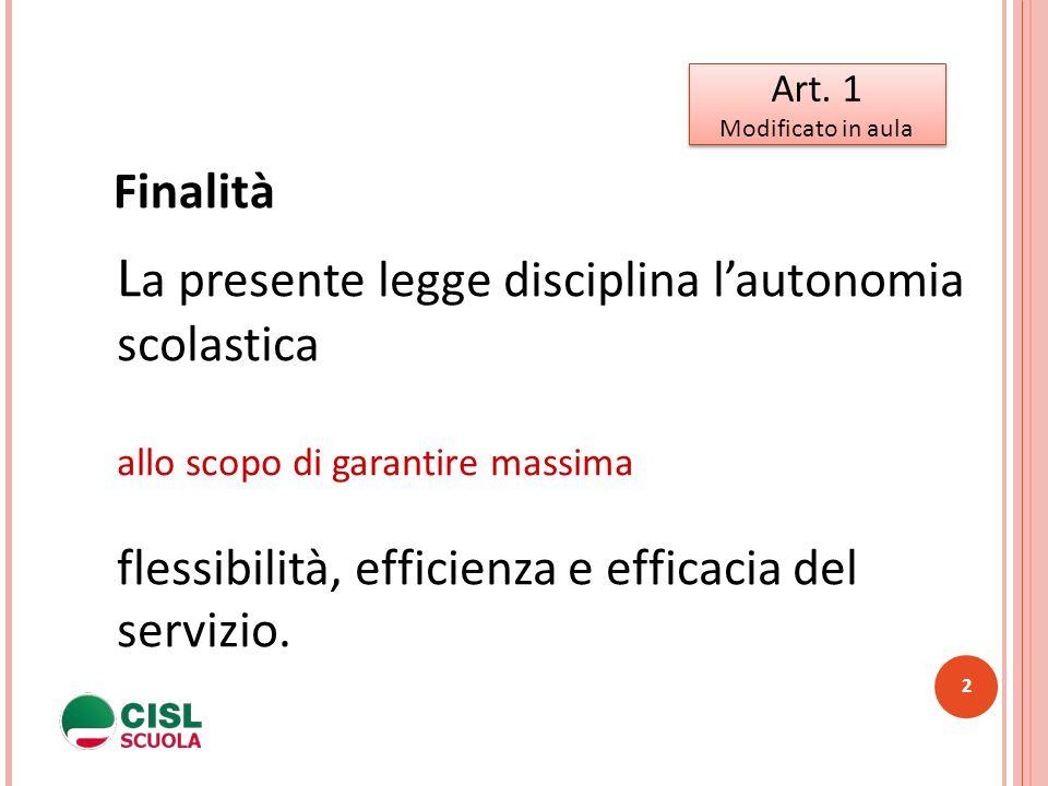 2 Art. 1 Modificato in aula Art. 1 Modificato in aula L a presente legge disciplina l'autonomia scolastica allo scopo di garantire massima flessibilit