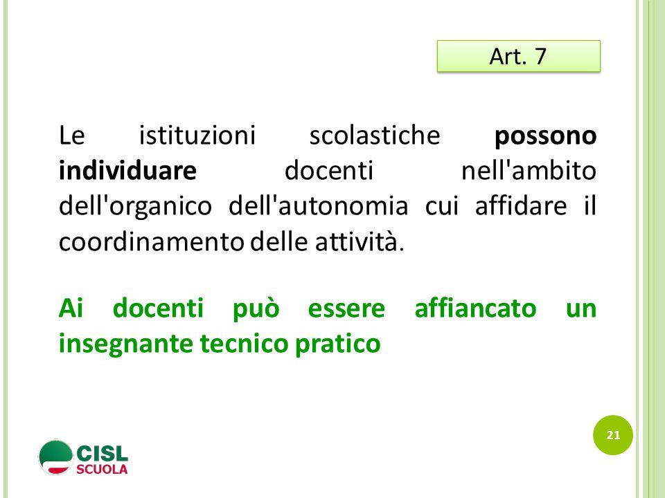 21 Art. 7 Le istituzioni scolastiche possono individuare docenti nell'ambito dell'organico dell'autonomia cui affidare il coordinamento delle attività