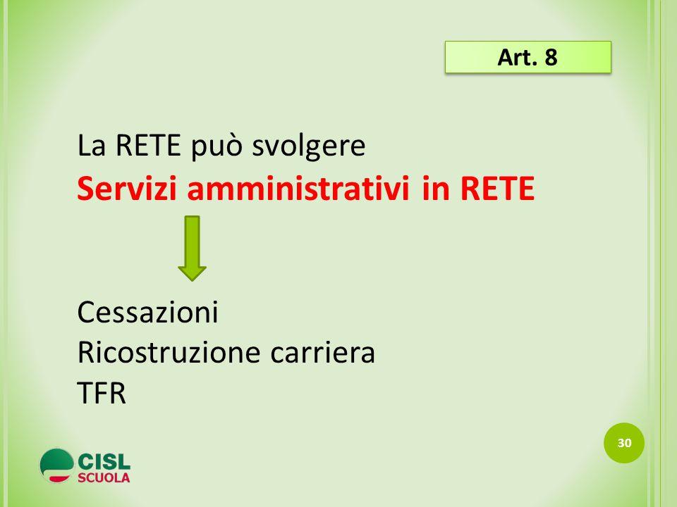 30 La RETE può svolgere Servizi amministrativi in RETE Cessazioni Ricostruzione carriera TFR Art. 8