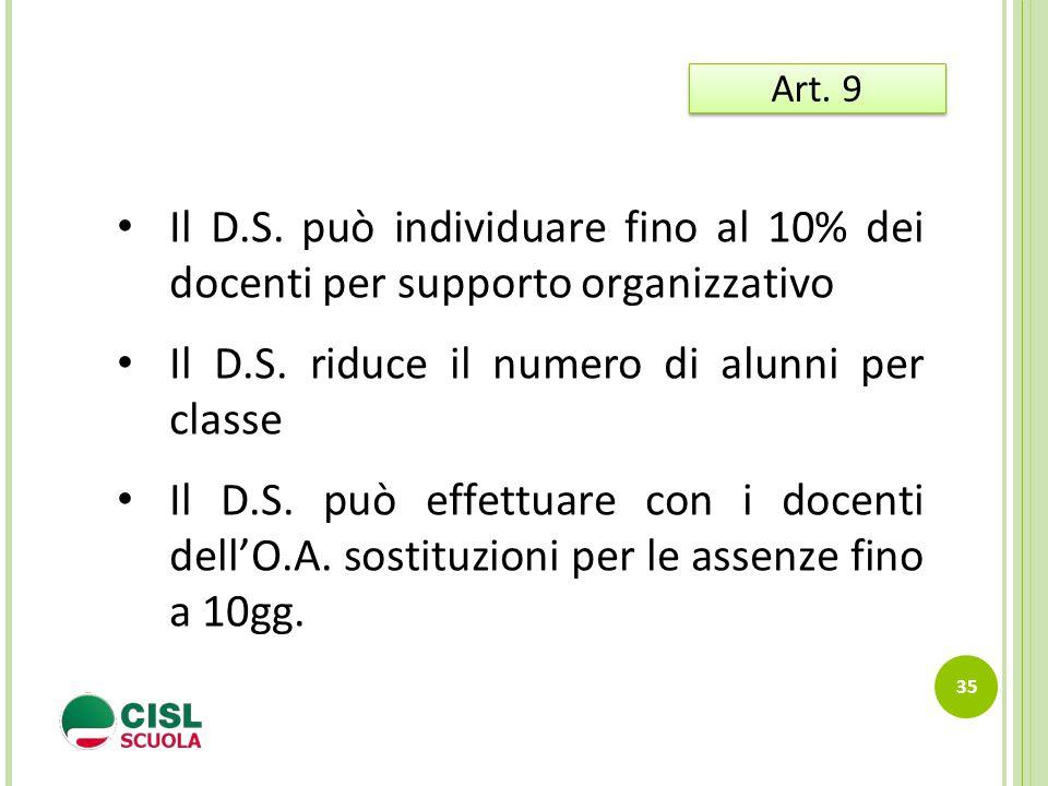 35 Art. 9 Il D.S. può individuare fino al 10% dei docenti per supporto organizzativo Il D.S. riduce il numero di alunni per classe Il D.S. può effettu