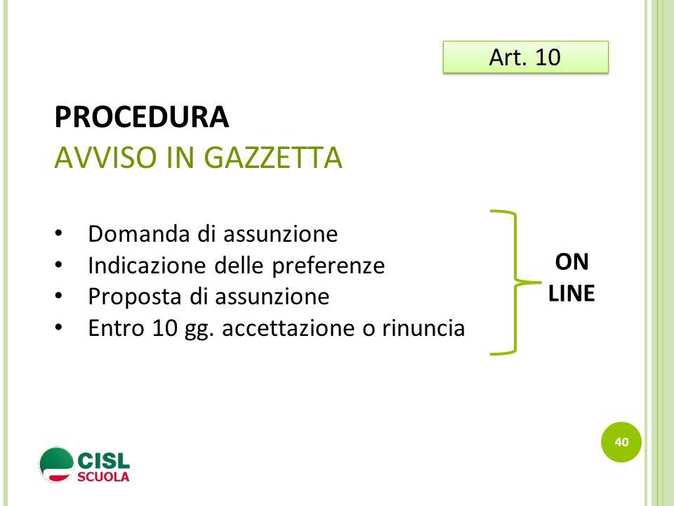 40 Art. 10 PROCEDURA AVVISO IN GAZZETTA Domanda di assunzione Indicazione delle preferenze Proposta di assunzione Entro 10 gg. accettazione o rinuncia