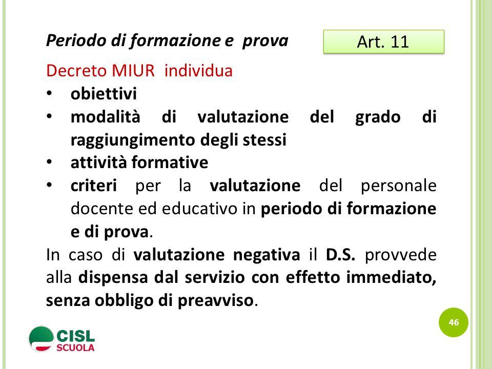 46 Art. 11 Periodo di formazione e prova Decreto MIUR individua obiettivi modalità di valutazione del grado di raggiungimento degli stessi attività fo