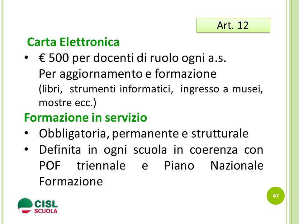 47 Art. 12 Carta Elettronica € 500 per docenti di ruolo ogni a.s. Per aggiornamento e formazione (libri, strumenti informatici, ingresso a musei, most