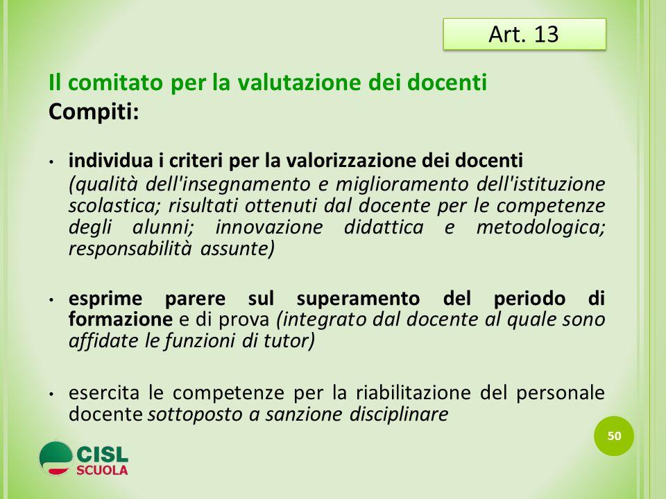 Il comitato per la valutazione dei docenti Compiti: individua i criteri per la valorizzazione dei docenti (qualità dell'insegnamento e miglioramento d
