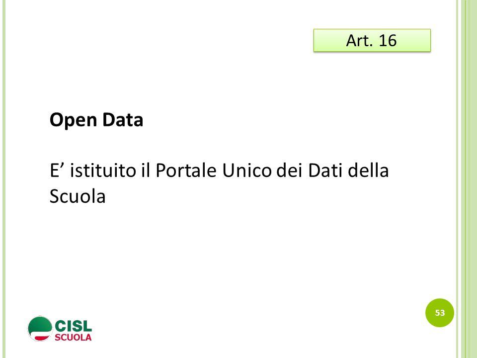 53 Art. 16 Open Data E' istituito il Portale Unico dei Dati della Scuola