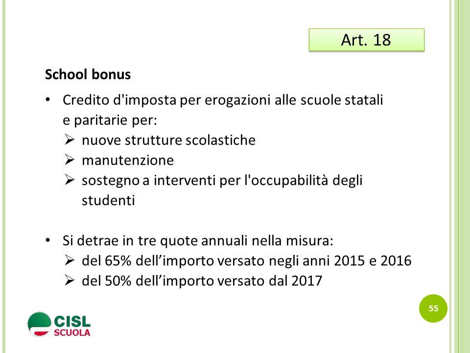 55 Art. 18 School bonus Credito d'imposta per erogazioni alle scuole statali e paritarie per:  nuove strutture scolastiche  manutenzione  sostegno