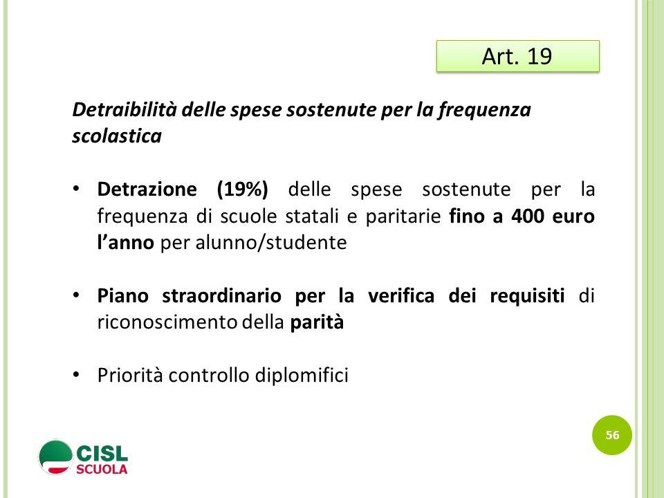 56 Art. 19 Detraibilità delle spese sostenute per la frequenza scolastica Detrazione (19%) delle spese sostenute per la frequenza di scuole statali e