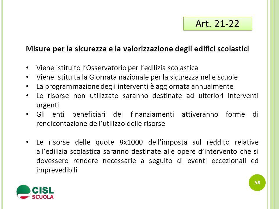 58 Art. 21-22 Misure per la sicurezza e la valorizzazione degli edifici scolastici Viene istituito l'Osservatorio per l'edilizia scolastica Viene isti