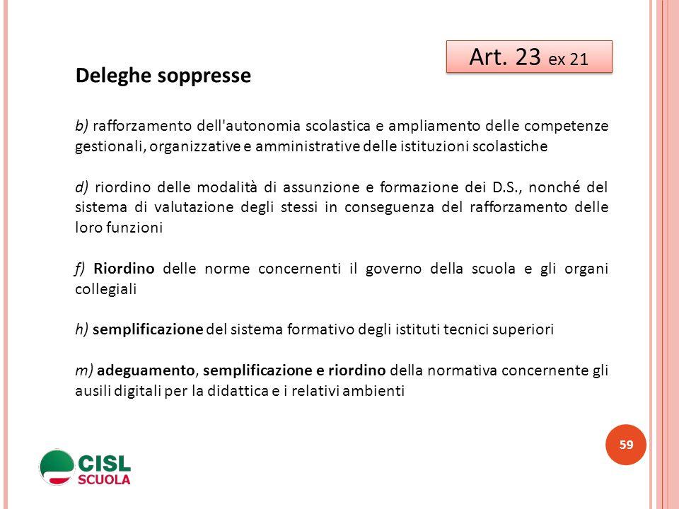 59 Art. 23 ex 21 Deleghe soppresse b) rafforzamento dell'autonomia scolastica e ampliamento delle competenze gestionali, organizzative e amministrativ