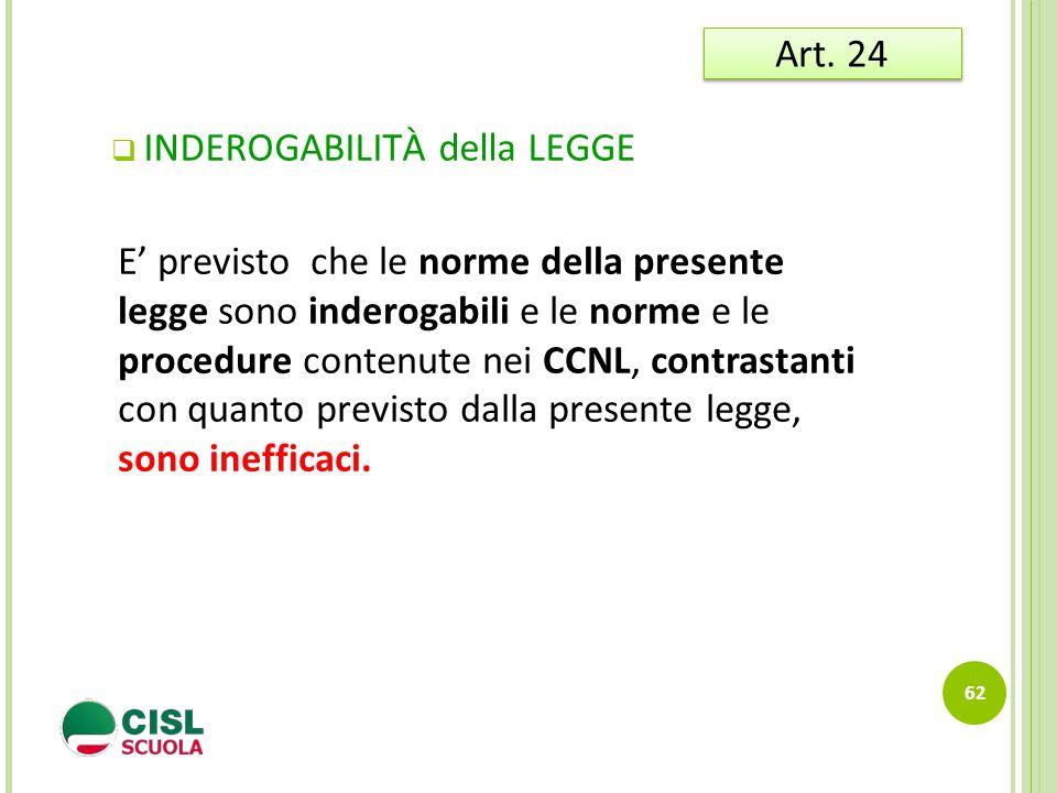  INDEROGABILITÀ della LEGGE 62 Art. 24 E' previsto che le norme della presente legge sono inderogabili e le norme e le procedure contenute nei CCNL,