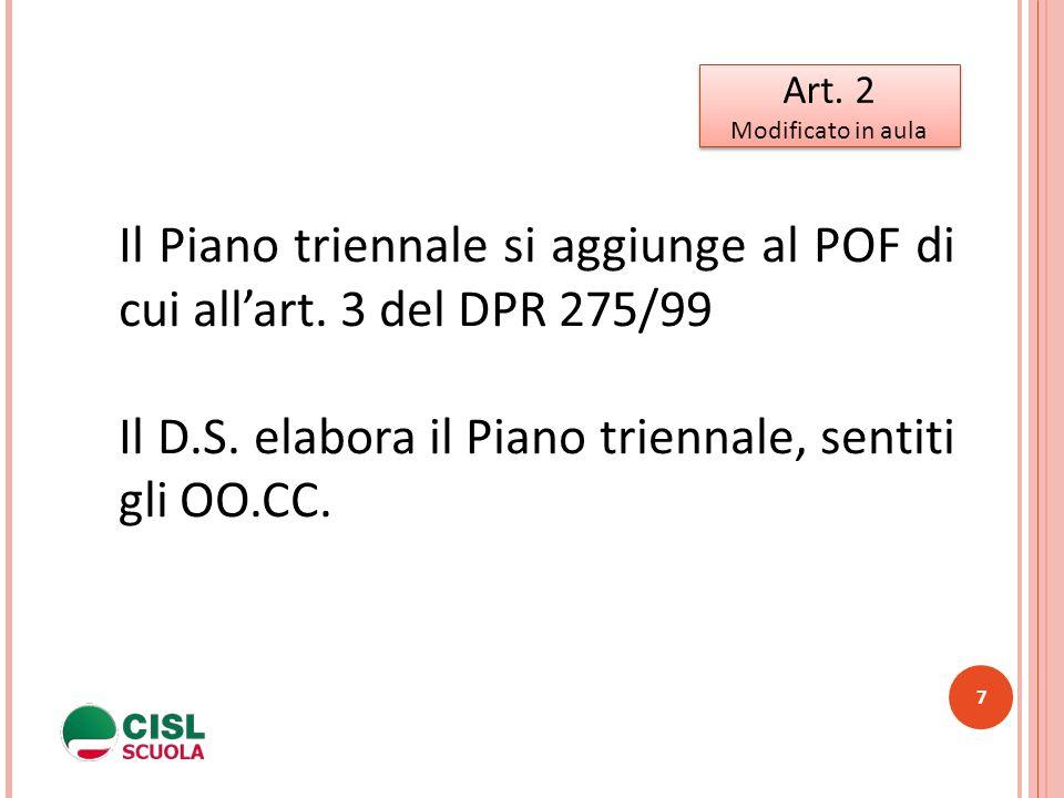 7 Art. 2 Modificato in aula Art. 2 Modificato in aula Il Piano triennale si aggiunge al POF di cui all'art. 3 del DPR 275/99 Il D.S. elabora il Piano