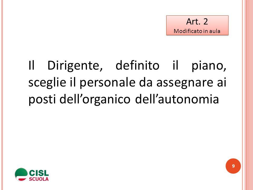 9 Art. 2 Modificato in aula Art. 2 Modificato in aula Il Dirigente, definito il piano, sceglie il personale da assegnare ai posti dell'organico dell'a