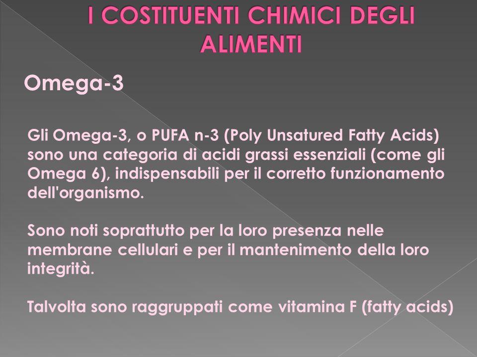 Omega-3 Gli Omega-3, o PUFA n-3 (Poly Unsatured Fatty Acids) sono una categoria di acidi grassi essenziali (come gli Omega 6), indispensabili per il c