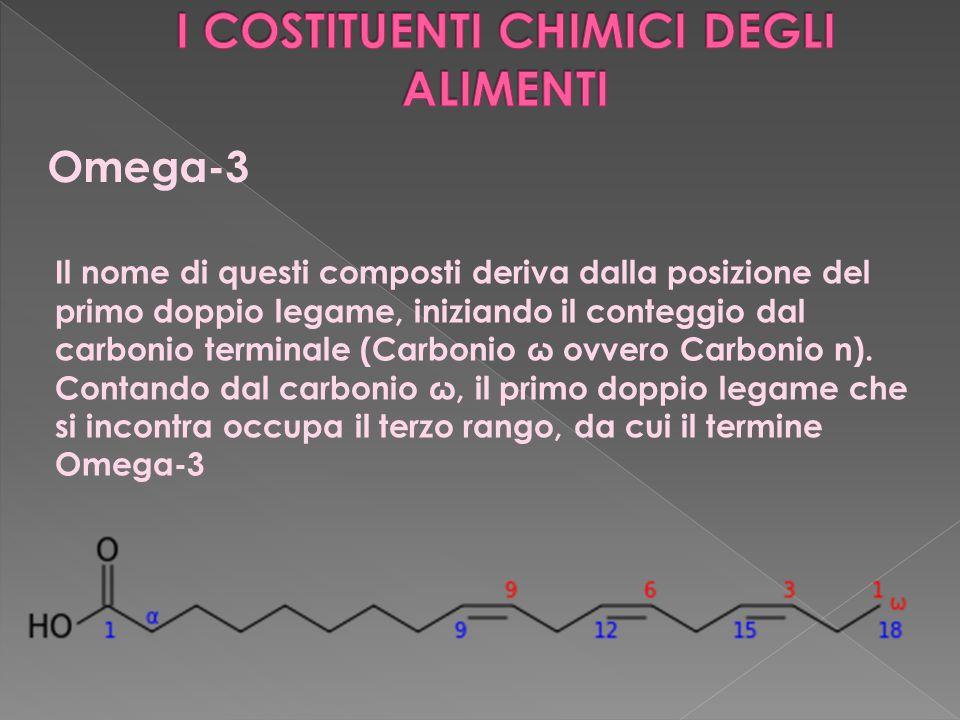 Omega-3 Il nome di questi composti deriva dalla posizione del primo doppio legame, iniziando il conteggio dal carbonio terminale (Carbonio ω ovvero Carbonio n).