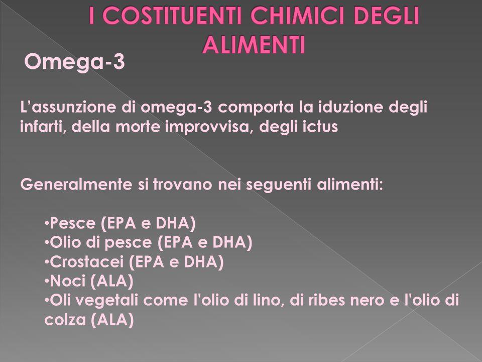 Omega-3 L'assunzione di omega-3 comporta la iduzione degli infarti, della morte improvvisa, degli ictus Generalmente si trovano nei seguenti alimenti: