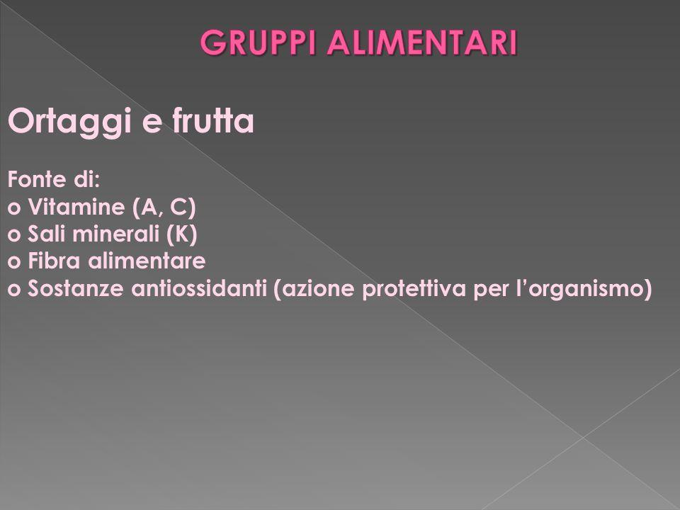 Ortaggi e frutta Fonte di: o Vitamine (A, C) o Sali minerali (K) o Fibra alimentare o Sostanze antiossidanti (azione protettiva per l'organismo)