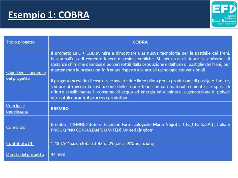 Esempio 1: COBRA Titolo progetto COBRA Obiettivo generale del progetto Il progetto LIFE + COBRA mira a dimostrare una nuova tecnologia per le pastiglie dei freni, basata sull uso di cemento invece di resine fenoliche.