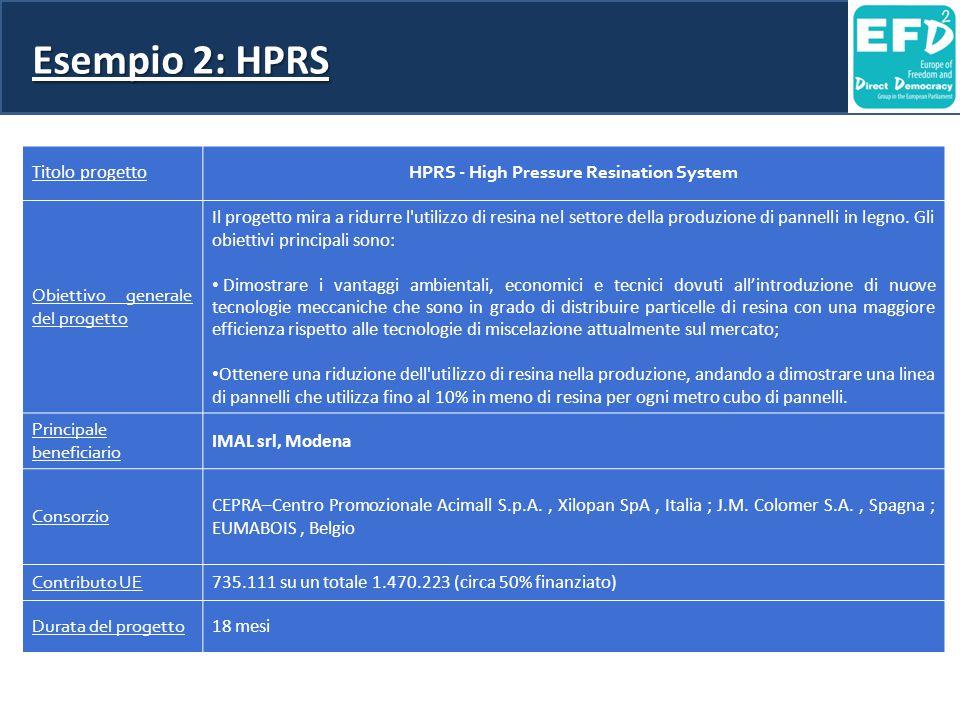 Esempio 2: HPRS Titolo progetto HPRS - High Pressure Resination System Obiettivo generale del progetto Il progetto mira a ridurre l utilizzo di resina nel settore della produzione di pannelli in legno.