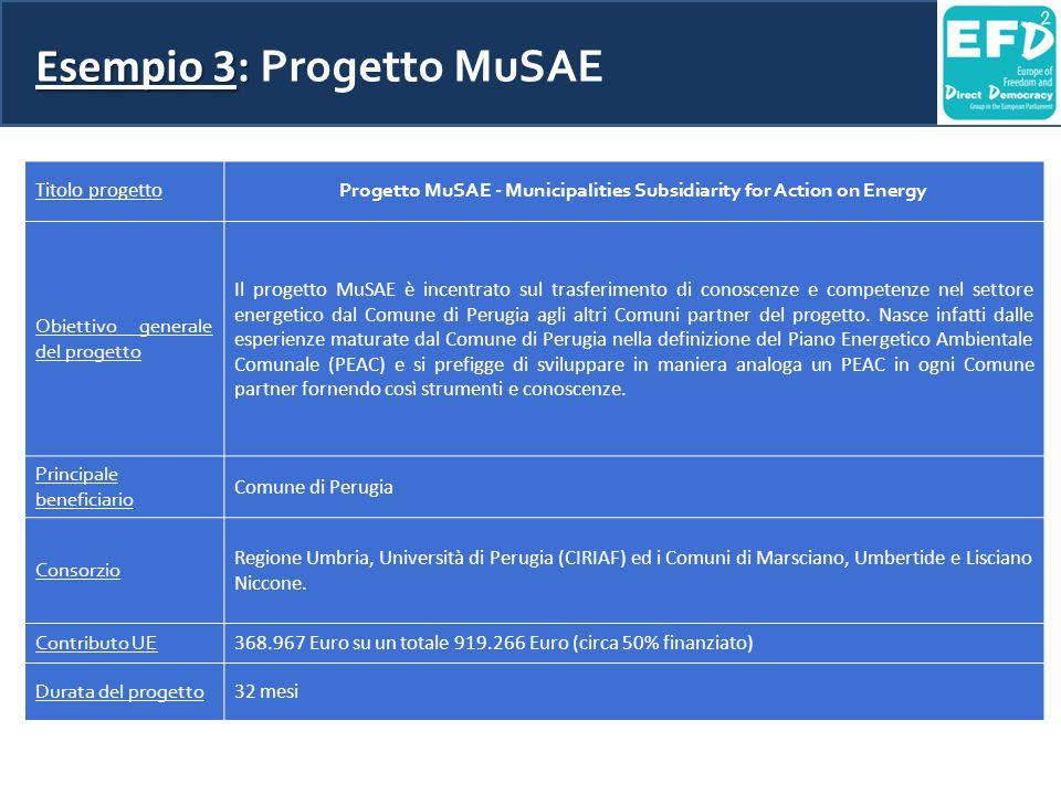 Esempio 3: Esempio 3: Progetto MuSAE Titolo progetto Progetto MuSAE - Municipalities Subsidiarity for Action on Energy Obiettivo generale del progetto Il progetto MuSAE è incentrato sul trasferimento di conoscenze e competenze nel settore energetico dal Comune di Perugia agli altri Comuni partner del progetto.