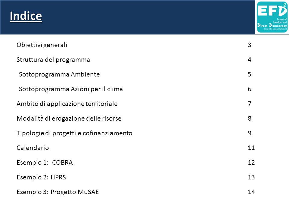 Indice Obiettivi generali3 Struttura del programma4 Sottoprogramma Ambiente5 Sottoprogramma Azioni per il clima6 Ambito di applicazione territoriale 7 Modalità di erogazione delle risorse8 Tipologie di progetti e cofinanziamento9 Calendario11 Esempio 1: COBRA12 Esempio 2: HPRS13 Esempio 3: Progetto MuSAE14