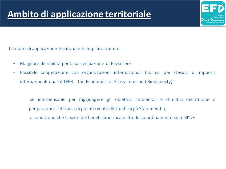 Ambito di applicazione territoriale L'ambito di applicazione territoriale è ampliato tramite: Maggiore flessibilità per la partecipazione di Paesi Terzi Possibile cooperazione con organizzazioni internazionali (ad es.