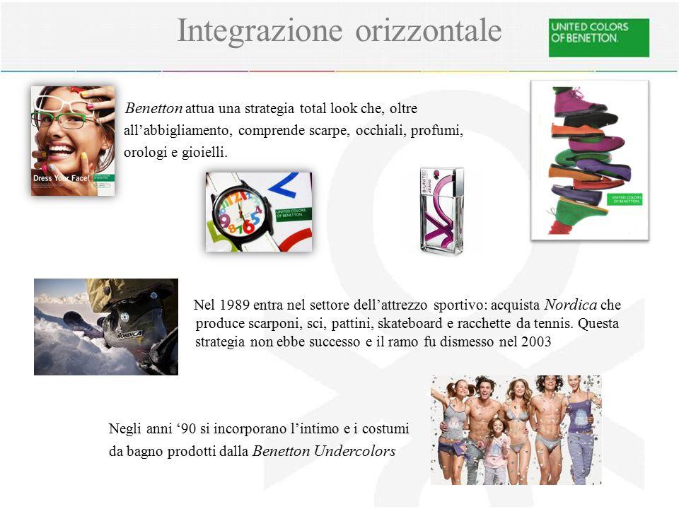 Benetton attua una strategia total look che, oltre all'abbigliamento, comprende scarpe, occhiali, profumi, orologi e gioielli.