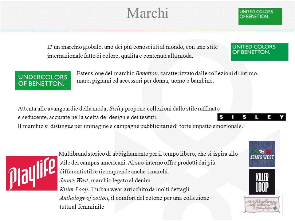 Marchi E' un marchio globale, uno dei più conosciuti al mondo, con uno stile internazionale fatto di colore, qualità e contenuti alla moda. Estensione