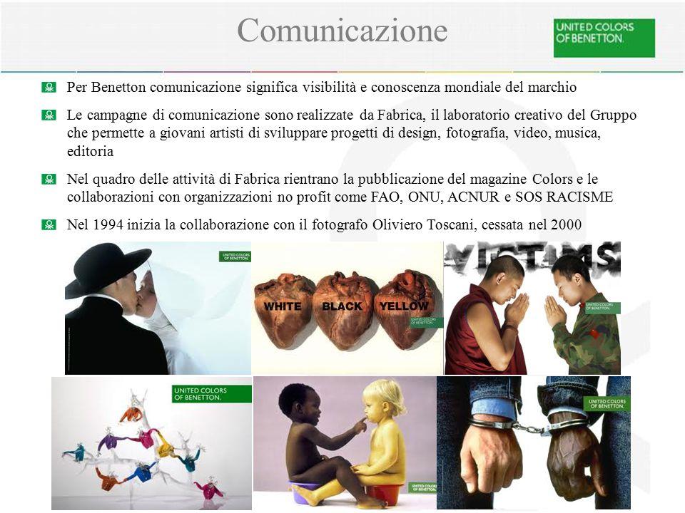 Comunicazione Per Benetton comunicazione significa visibilità e conoscenza mondiale del marchio Le campagne di comunicazione sono realizzate da Fabric