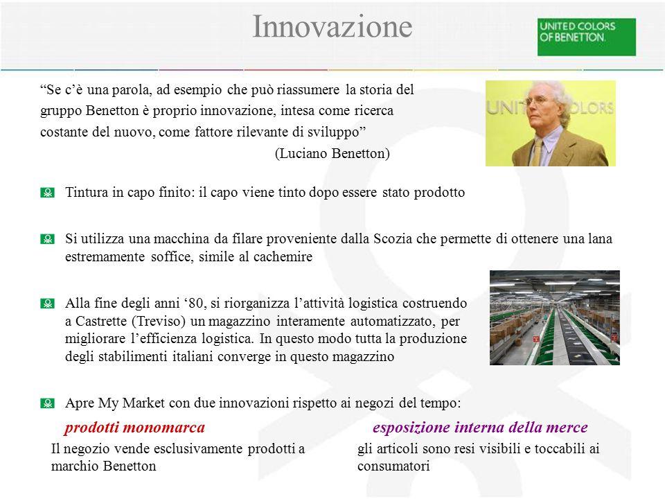 """Innovazione """"Se c'è una parola, ad esempio che può riassumere la storia del gruppo Benetton è proprio innovazione, intesa come ricerca costante del nu"""