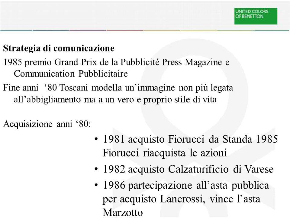 Strategia di comunicazione 1985 premio Grand Prix de la Pubblicité Press Magazine e Communication Pubblicitaire Fine anni '80 Toscani modella un'immagine non più legata all'abbigliamento ma a un vero e proprio stile di vita Acquisizione anni '80: 1981 acquisto Fiorucci da Standa 1985 Fiorucci riacquista le azioni 1982 acquisto Calzaturificio di Varese 1986 partecipazione all'asta pubblica per acquisto Lanerossi, vince l'asta Marzotto 1991 Rivista Colors di Luciano Benetton e Oliviero Toscani 40 Paesi e 4 lingue diverse
