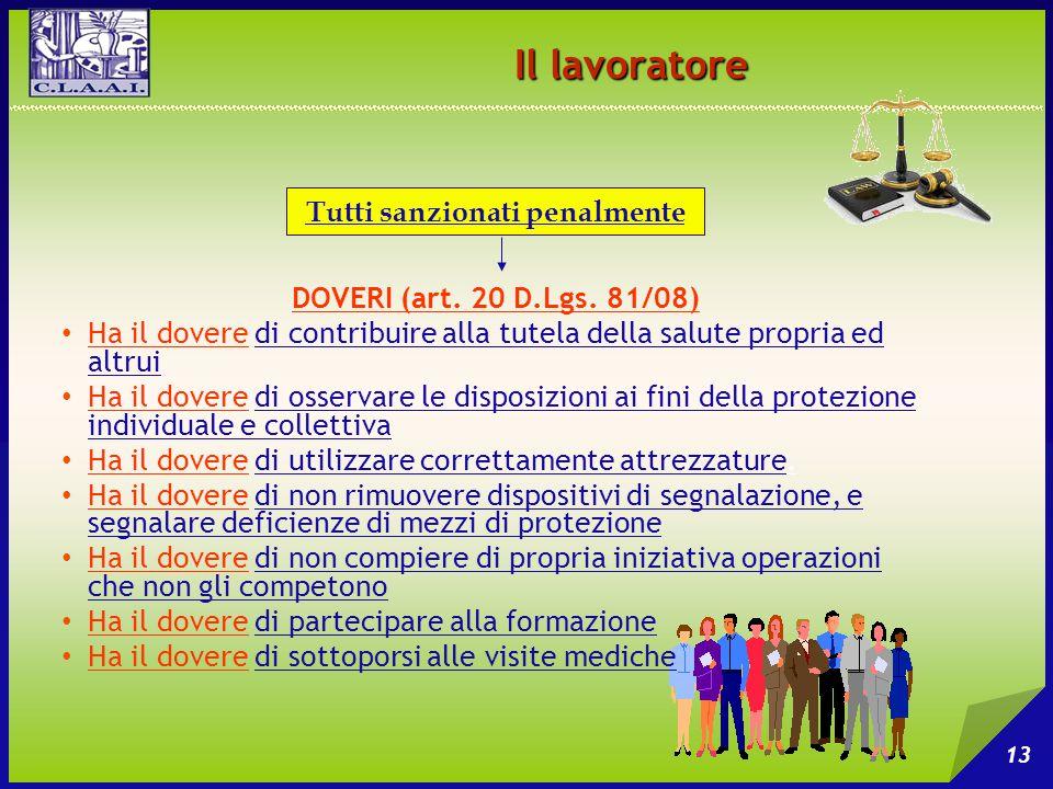 Il lavoratore 13 DOVERI (art. 20 D.Lgs. 81/08) Ha il dovere di contribuire alla tutela della salute propria ed altrui Ha il dovere di osservare le dis