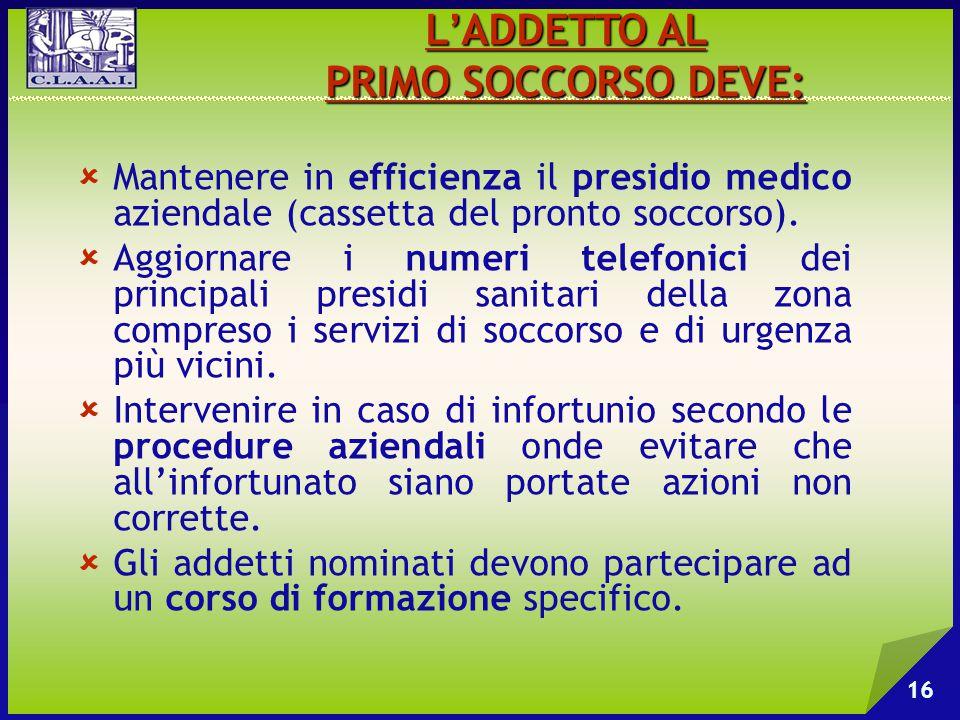  Mantenere in efficienza il presidio medico aziendale (cassetta del pronto soccorso).  Aggiornare i numeri telefonici dei principali presidi sanitar
