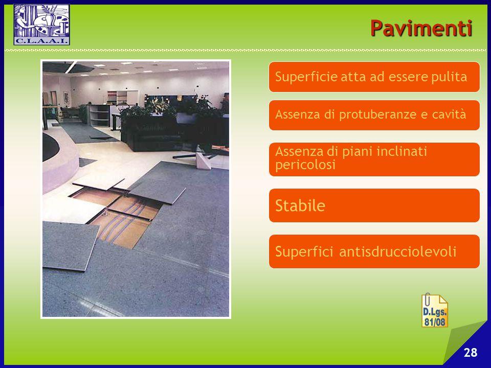 Pavimenti 28 Superficie atta ad essere pulita Assenza di piani inclinati pericolosi Assenza di protuberanze e cavità Stabile Superfici antisdrucciolev