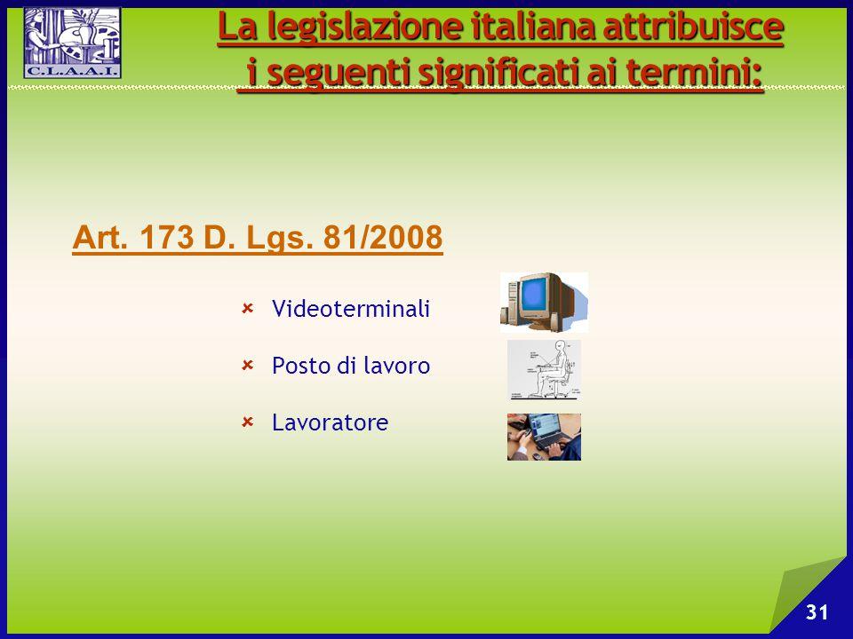  Videoterminali  Posto di lavoro  Lavoratore La legislazione italiana attribuisce i seguenti significati ai termini: i seguenti significati ai term